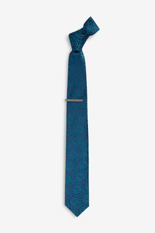 Next Floral Tie With Tie Clip