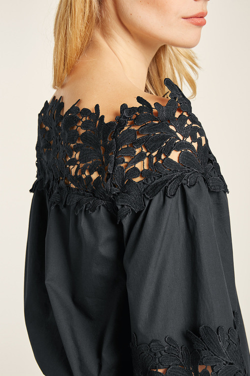 Heine Lace Detail Woven Top
