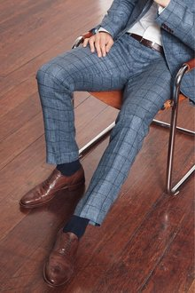 Next Nova Fides Signature Check Linen Suit: Trousers
