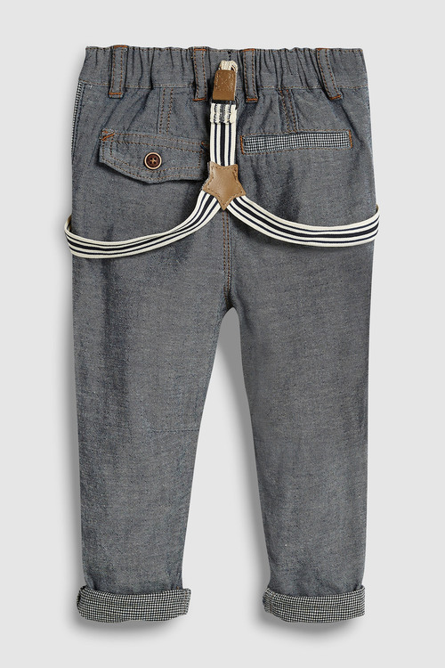 Next GREY SMART TROUSERS WITH BRACES