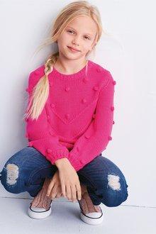 Next Pink Pom Pom Jumper (5-16yrs) - 235316