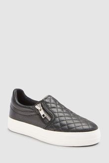 Next BLACK QUILTED SKATE SHOES - 235342