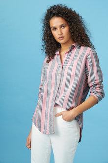 Capture Linen Cotton Roll Cuff Shirt - 235373