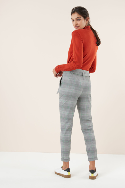 Next CHECK BELTED TAPER TROUSERS