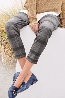 Next CHECK BELTED TAPER TROUSERS - 235466