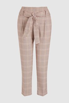 Next Pink Check Tie Waist Trousers - 235486