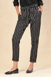 Next BLACK STRIPE BELTED TAPER TROUSERS - 235490