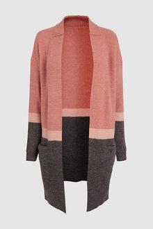 Next Rose Colourblock Longline Cardigan - 235494