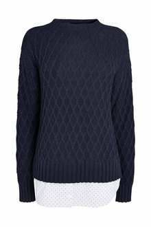Next NAVY CABLE LAYER SWEATER - 235515