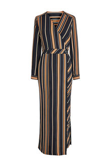 Next Black/Tan Stripe Midi Wrap Dress - 235571