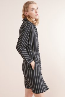 Next Black Stripe Belted Shirt Dress - 235573