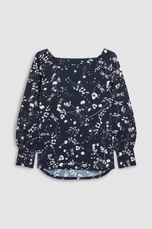 Next NAVY LONG SLEEVE LACE INSERT TOP - 235659