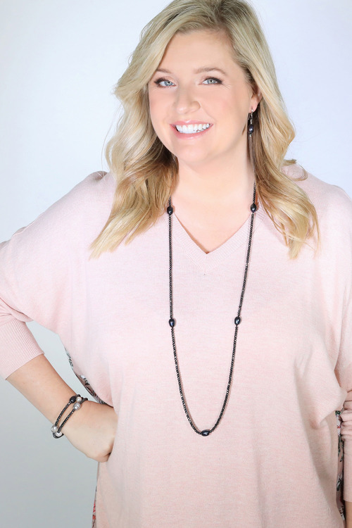 By Fairfax & Roberts Pearl/Haematite Long Necklace