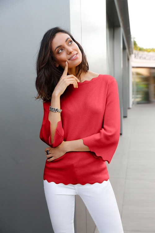Euro Edit Scallop Edge Knit Top