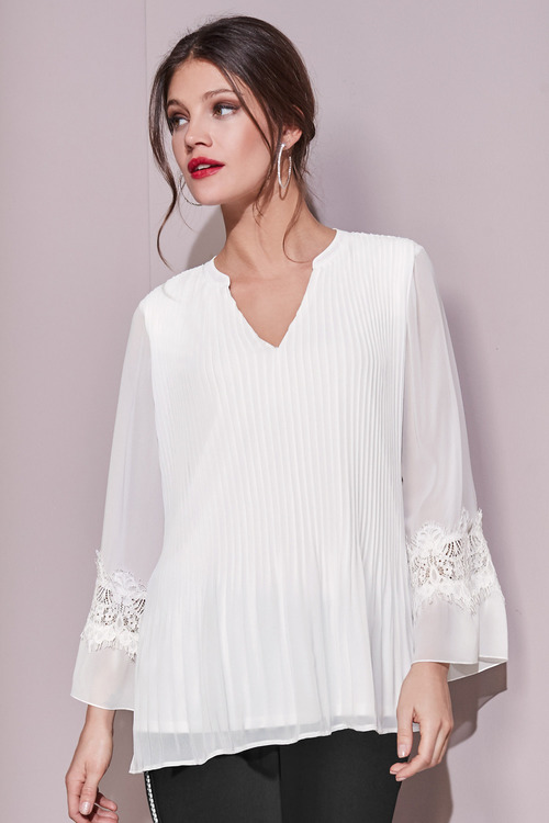 European Collection Pleated Lace Trim Top