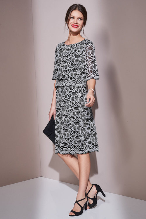 European Collection Lace Overlay Dress