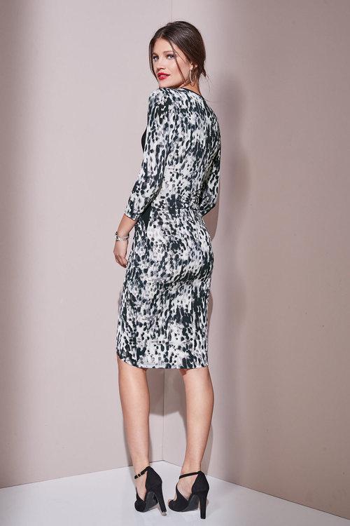 European Collection Mesh Trim Printed Dress