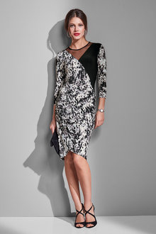 European Collection Mesh Trim Printed Dress