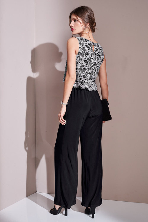 European Collection Lace Overlay Jumpsuit