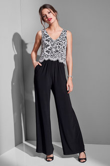 European Collection Lace Overlay Jumpsuit - 235712