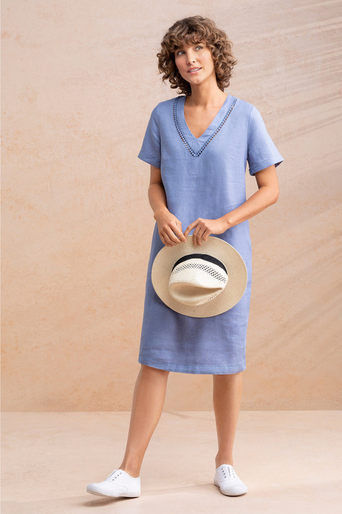 Capture Linen V Neck Shift Dress
