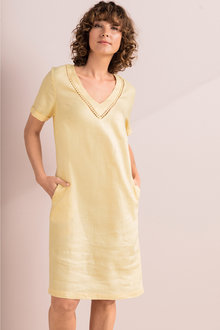 Capture Linen V Neck Shift Dress - 235718