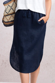 Capture Linen Curve Hem Skirt