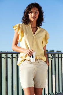 Emerge Linen Blend Ruffle Shirt - 235768