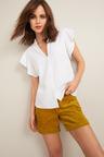 Emerge Linen Blend Ruffle Shirt