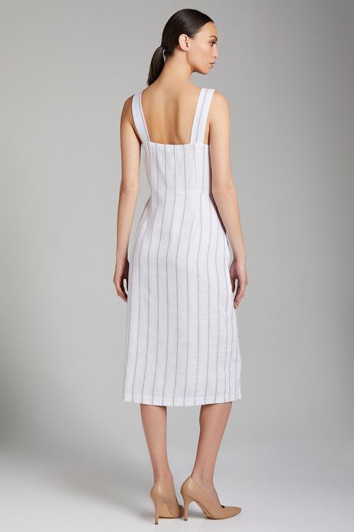 Emerge Linen Blend Button Midi Dress