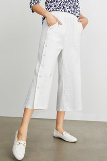 Emerge Linen Button Detail Culotte - 235779