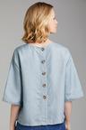 Emerge Linen Blend Button Back Top