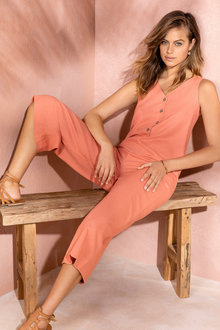 Emerge Linen Blend Button Jumpsuit - 235786