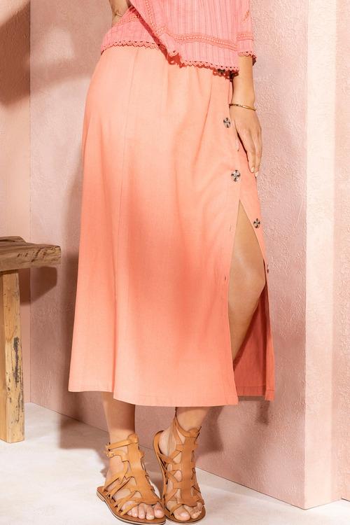 Emerge Linen Blend Button Midi Skirt