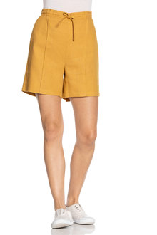 Emerge Linen Blend Seam Detail Shorts - 235792