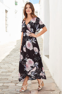 European Collection Wrap Front Maxi Dress - 235795