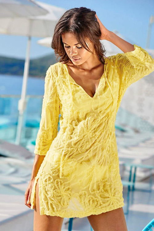 Heine Floral Applique Tunic Dress
