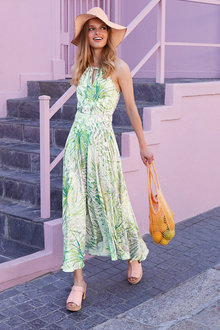 Heine Printed Halter Neck Maxi Dress