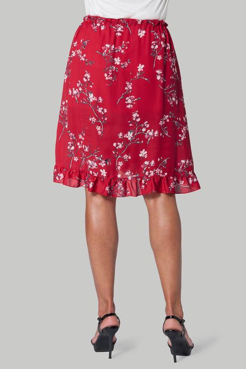 Euro Edit Printed Ruffle Skirt