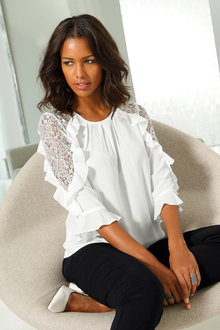 Euro Edit Lace Trim Ruffle Top