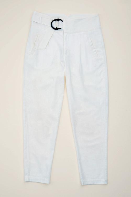 Grace Hill Linen Blend Belted Taper Pants