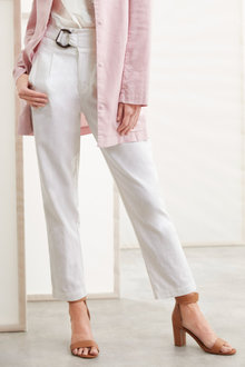 Grace Hill Linen Blend Belted Taper Pants - 235886