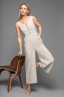 Grace Hill Linen Blend Button Jumpsuit - 235894