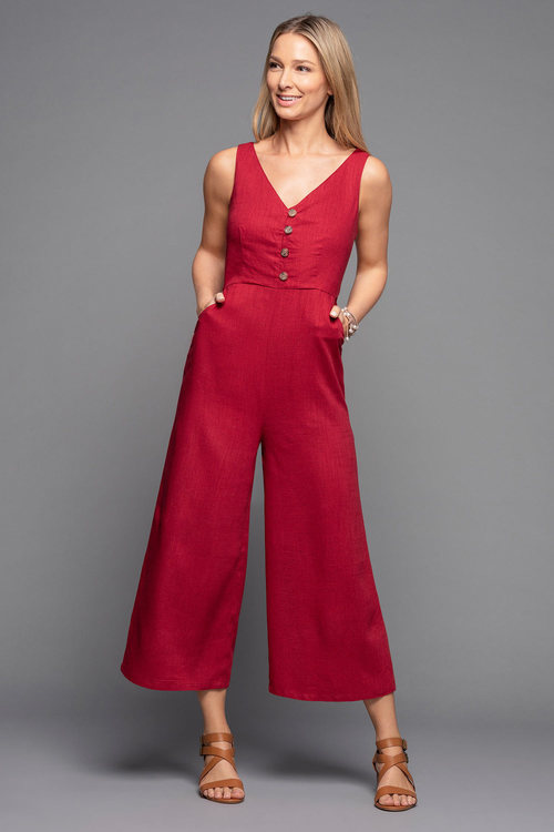 Grace Hill Linen Blend Button Jumpsuit