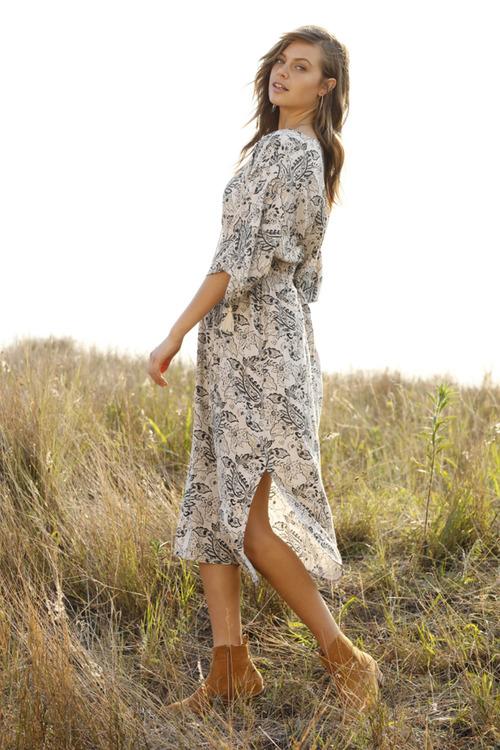 Emerge Kimono Sleeve Midi Dress