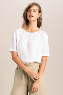 Grace Hill Linen Button Back Top