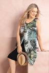 Plus Size - Sara Palm Overlay Dress