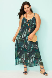 Plus Size - Sara Print Chiffon Maxi Dress - 235956