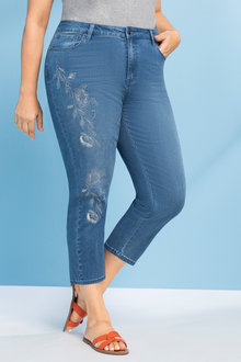Plus Size - Sara Embroidered Denim Crop