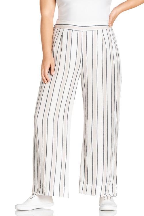 Plus Size - Sara Stripe Wide Leg Pants